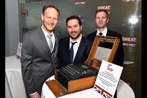 British Consul General Chris O'Connor, The Imitation Game producer Teddy Schwarzman and British Deputy Ambassador to the US Patrick Davies